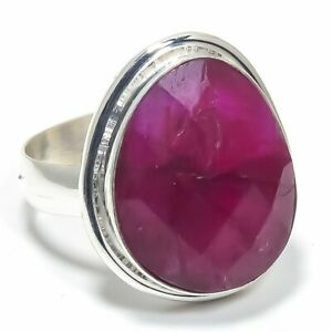 Kashmir Red Ruby Gemstone Handmade 925 Solid Sterling Silver Jewelry Ring Size 9