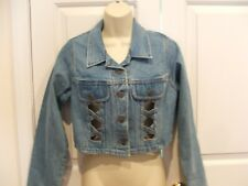 new in pkg vintage denim crop OPEN front jacket made in USA  junior SMALL 5-7