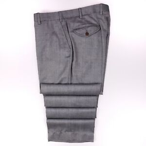 Orvis Silk Blend Pants 36x35 Gray Herringbone Trouser Mens Size Flat Front Pant