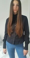 Ladies  Black Versace Shirt -medium (8-10),cotton-made in Italy.