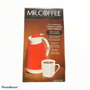 Mr Coffee 32oz Red Thermal Carafe Double Wall Glass Liner Plastic Outer Shell
