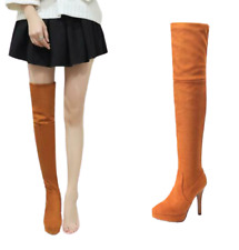 Women's Over Knee High Stiletto Heel Round Toe Thigh High Boots Platform Shoes