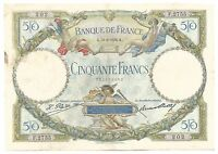 France French Banknote 50 Francs 1928 P77a Luc Olivier Merson Rare XF Tres Joli
