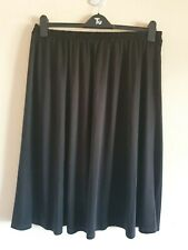 Ladies Black Elasticated Waist Knee Length Skirt Size 24