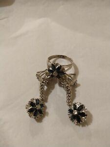 Palladium Alloy Sapphire Diamond Earrings Ring