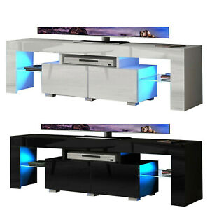 5.2FT Modern TV Unit Cabinet Stand High Gloss Doors With LED Lights Drawer Shelf