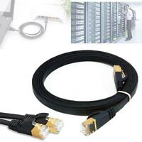 1M CAT7 RJ45 10Gbps 600Mhz Ethernet Network LAN Flat Shielded Cable Black New Jб
