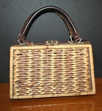 VTG 1960s Wicker Purse Handbag Leather Straps Brass Hong Kong Lacquered Wicker