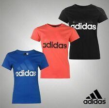 Ladies Adidas Logo Short Sleeve Sports Linear QT T Shirt Top Sizes 8-22