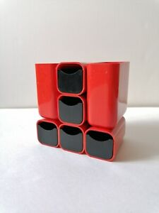 Plastic Desk organizer Caddy Red Vintage