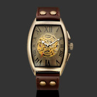 Men's Mechanical Wrist Watch Brown Leather Strap Square Skull Skeleton Luxury