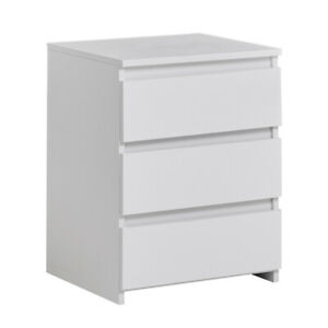 3 Drawer Bedside Table White Modern Furniture Home Wood Nightstand Bedroon UK