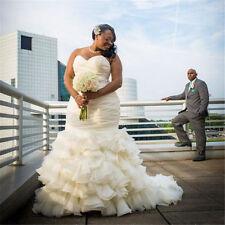 Plus Size White/Ivory Sleeveless Wedding Dresses Mermaid Bridal Gown Custom Made