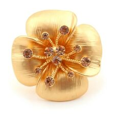 Zest Textured Swarovski Crystal Flower Ring Golden Size Large UK P US 7.75