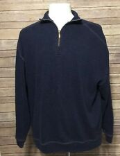 Tommy Bahama Blue Half Zip Pullover Sweater Large 100% Cotton