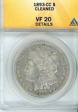 1893 CC $1 Morgan Silver Dollar Graded & Certified By ANACS as VF 20 CARSON CITY