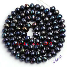 "4-5mm Natural Black Freshwater Pearl Rondelle Shape Gems Loose Beads Strand15"""