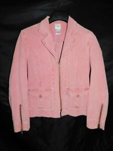 Garnet Hill Size 8 Pink Corduroy Jacket Full Zip Pockets Unlined Cotton Pockets