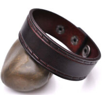 Retro Embossing Cool Genuine Leather Bracelet Wrap Cuff Wristband Strap Brown