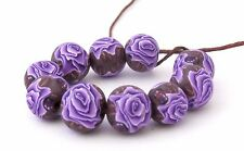 10 pcs round beads, Purple rose beads, Handmade, polymer clay,10 mm  #Rdpl01