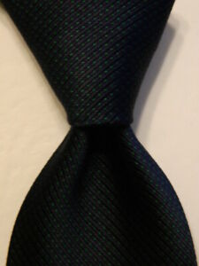 CHANEL Mens 100% Silk Necktie ITALY Luxury Geometric Navy Blue/Green Skinny GUC
