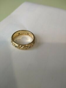 Ladies wedding ring solid gold blue and white diamonds hand engraved