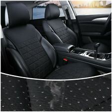 1PCS Breathable Seat 3D Cushion Black Fabric & PU Leather Car Front Seat Cover