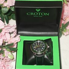 CROTON Chronomaster Leather Strap Chronograph  Men's Watch CC311295 New $425