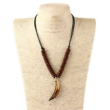 1Pcs Man Brown Tribe Large Wolf Tooth Charms Wooded Beads Adjustable Necklace