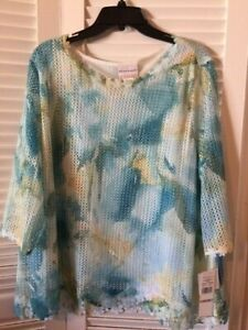 Alfred Dunner  Multi Green  Overlay Border Lace Lined 3/4 Sleeve Top Size 1X NWT