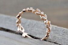 14K Rose Gold Fn & Diamond Leaf Petal Vine Vintage Design Womens Wedding  Ring