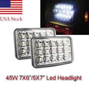 PAIR 7X6 5X7 LED Headlights Fit for International 5900i 7300 7400 9200 9400 9900