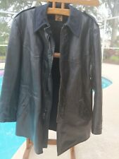 VINTAGE WW2 Malung Swedish Military Leather / wool lined Coat Jacket. Size L