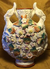 Antique English Majolica Pottery Moon Flask Vase: Lizard Handles/Applied Flowers