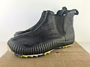 SIMPLE Brand Black Leather Chelsea Ankle Moccasin Boots Womens 9.5 PULL ON 9113