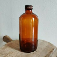 "Vintage Duraglas Glass Amber Bottle Brown Apothecary 6.75"" Tall"