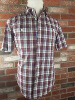 LL Bean Shirt Mens S REG Plaid  Short Sleeve Chambray Slightly Fitted  NEW NWT