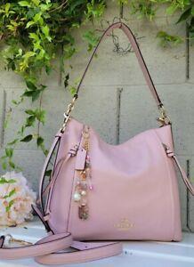 COACH MARLON blossom pink pebbled leather HOBO crossbody bag 79994 purse satchel