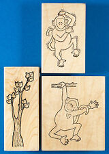 Monkey & Tree Lot of 3 Rubber Stamps - Darcie's - Scratching Hanging from Branch