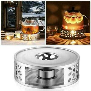 Coffee Tea Teapot Warmer Candle Light Round Base Heater Holder Stainless Steel