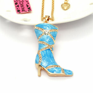 Lady Blue Enamel High-heeled Boot Crystal Pendant Betsey Johnson Chain Necklace