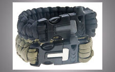 Bracciale survival paracord Bracelet con pietra focaia fischia Raschietto Outdoor VERDE