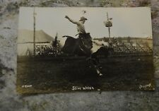 Vintage 1930s Cowboy Slim Welsh on bronco rodeo RPPC Postcard