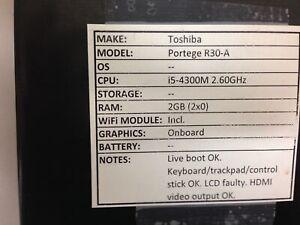 Toshiba Portege R30-A * Parts/Repair* i5/2GB - NO Os/HDD/BATT & CHRG