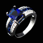 Blue Sapphire Channel Set Engagement Ring 10KT White Gold Filled Women/Mens 6-10