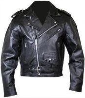 Hommes Moto Perfecto Brando 100% Cuir Fermeture Éclair Veste Noir Motard