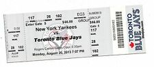 2013 BLUE JAYS VS NY YANKEES TICKET STUB ALEX RODRIGUEZ HR #650 HOME RUN 8/26/13