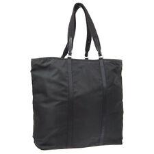 PRADA Logos Hand Tote Bag #145 Black Nylon Vintage Italy AK45616