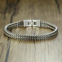 Luxury Men Silver Stainless Steel Bracelet Bangle Boy's Cool Cuff Wristband Gift