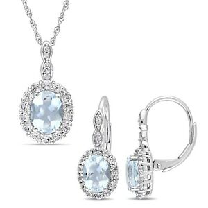Amour 14k White Gold Aquamarine White Topaz & Dia. Necklace & Drop Earrings Set